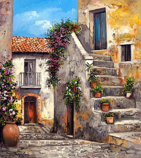 tranh sơn dầu phong cảnh cổ điển Châu Âu