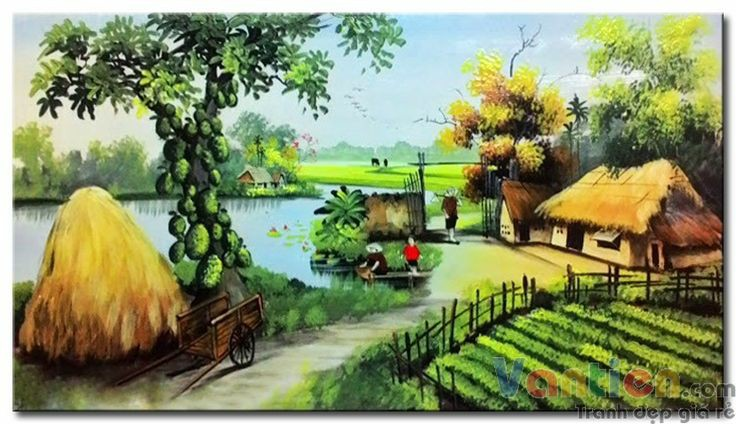 tranh sơn dầu phong cảnh làng quê Việt Nam