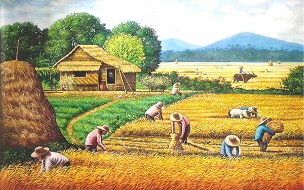 tranh sơn dầu làng quê treo phòng khách