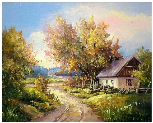 tranh sơn dầu phong cảnh nông thôn