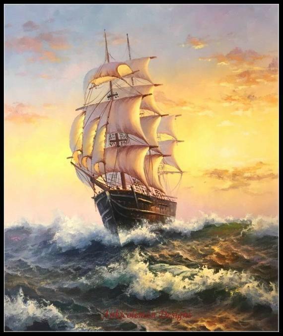 Tranh sơn dầu chiếc thuyền vượt sóng
