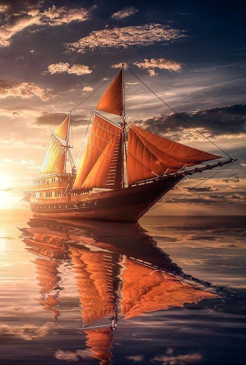 tranh sơn dầu thuận buồm xuôi gió
