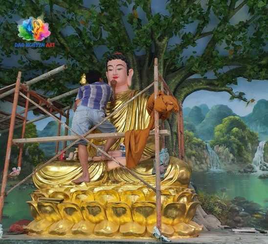 vẽ tranh tường Phật Giáo đẹp